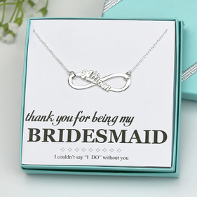 Sterling Silver Bridesmaid Allison Infinity Name Necklace Gift Boxed w/ Special Message Cart
