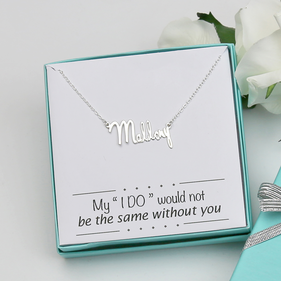Sterling Silver Bridesmaid Mini Mallory Name Necklace Gift Boxed w/ Special Message
