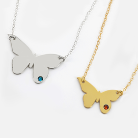 Sterling Silver Butterfly  Necklace Personalized with Swarovski Birthstone