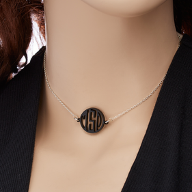 Sterling Silver Choker Necklace with Acrylic Monogram