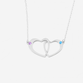 Sterling Silver Couples Heart Necklace Personalized w/ Swarovski  Birthstones