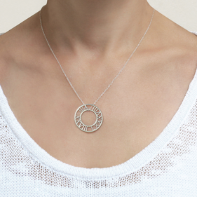 Sterling Silver Cut out Roman Numerals Disk Necklace