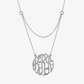 Sterling Silver Double Layer Monogram Necklace