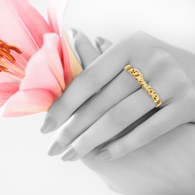 Yellow or Rose Gold over Silver Double Name Ring
