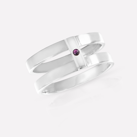 Sterling Silver Double Strap Ring Personalized w/ Birthstone