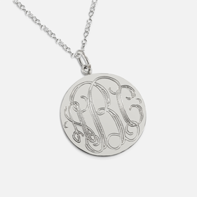 Sterling Silver Engraved Monogram Necklace