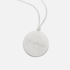 Sterling Silver Engraved Name Necklace Script Letter
