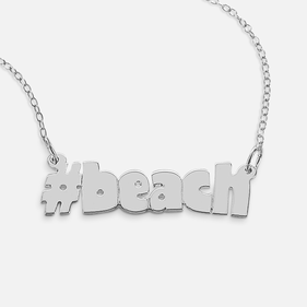 Sterling Silver # Hashtag Necklace