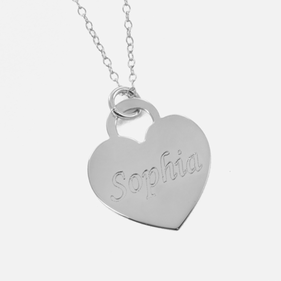 Sterling Silver Heart Necklace Personalized with Name