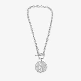 Sterling Silver Heavy Chain Monogram Necklace with Toggle Clasp