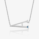 Sterling Silver Horizontal Initial Necklace with Birthstone