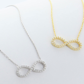 Sterling Silver INFINITY necklace with CZ stones