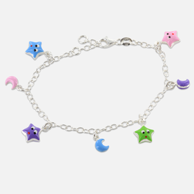 Sterling Silver Kids Charm Bracelet with Pendant