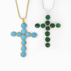 Sterling Silver Large Cross with Semi-Precious Stones