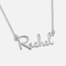 Sterling Silver Mini Script Name Necklace Rachel Style