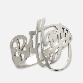 Sterling Silver Modern Signature Name Ring