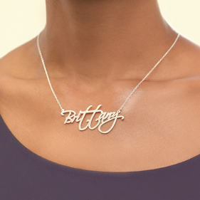 Sterling Silver Modern Signature Name Necklace
