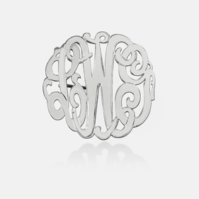 Sterling Silver Monogram Brooch