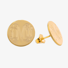 Gold Over Sterling Silver Monogram Engraved Stud Earrings