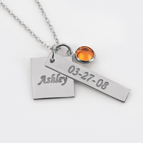Sterling Silver  Necklace Personalized with Name , Date and Swarovski Birthstone