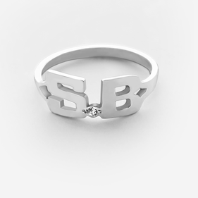 Sterling Silver Two Initial Ring w/ Diamond Stone