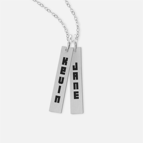 Sterling Silver Personalized Bar Name Necklace in Block Lettering