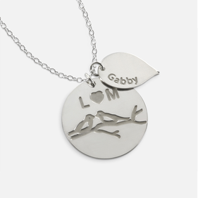 Sterling Silver Personalized w/ Two Initials and Kids Names Family Necklace