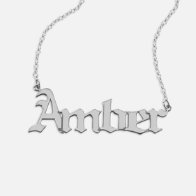 Sterling Silver Personalized Gothic Name Necklace