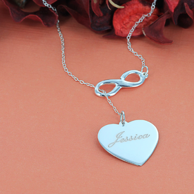 Sterling Silver Personalized w/ Name Infinity Heart Necklace