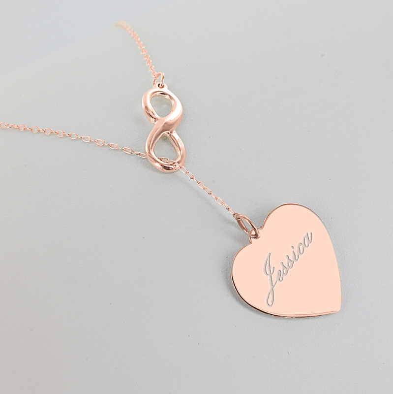 infinity heart. sterling silver personalized infinity heart necklace. extra image 1 2 3