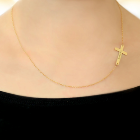 Personalized Sterling Silver Sideways Cross Name Necklace