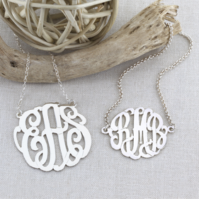 Sterling Silver Personalized Monogram Necklace and Bracelet Set