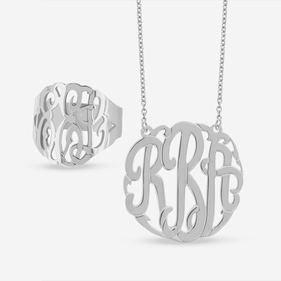 Sterling Silver Personalized Monogram Necklace and Ring Set
