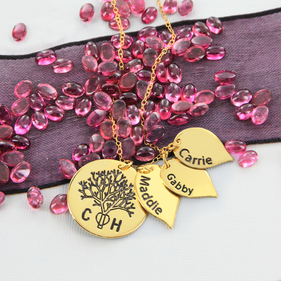 Sterling Silver Personalized Oak Tree Family necklace