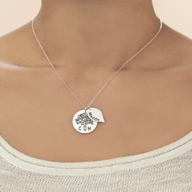 Silver Personalized w/ Two Initials & Kids Names Oak Tree Family Necklace