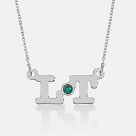 Sterling Silver Personalized Two Initial Necklace with Swarovski stone