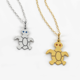 Sterling Silver Tiny Turtle Necklace Personalized with Swarovski Birthstones
