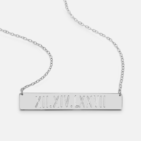 Sterling Silver Roman Numerals Engraved Bar Necklace
