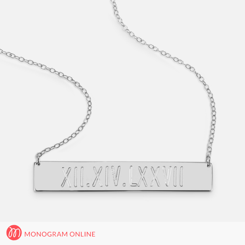 Sterling silver roman numerals engraved bar necklace monogram online sterling silver roman numerals engraved bar necklace engraved aloadofball Gallery