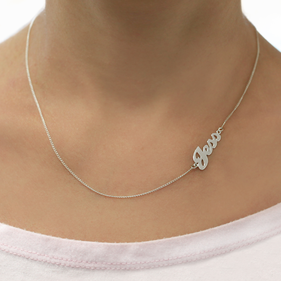 Sterling Silver Sideways Name Necklace