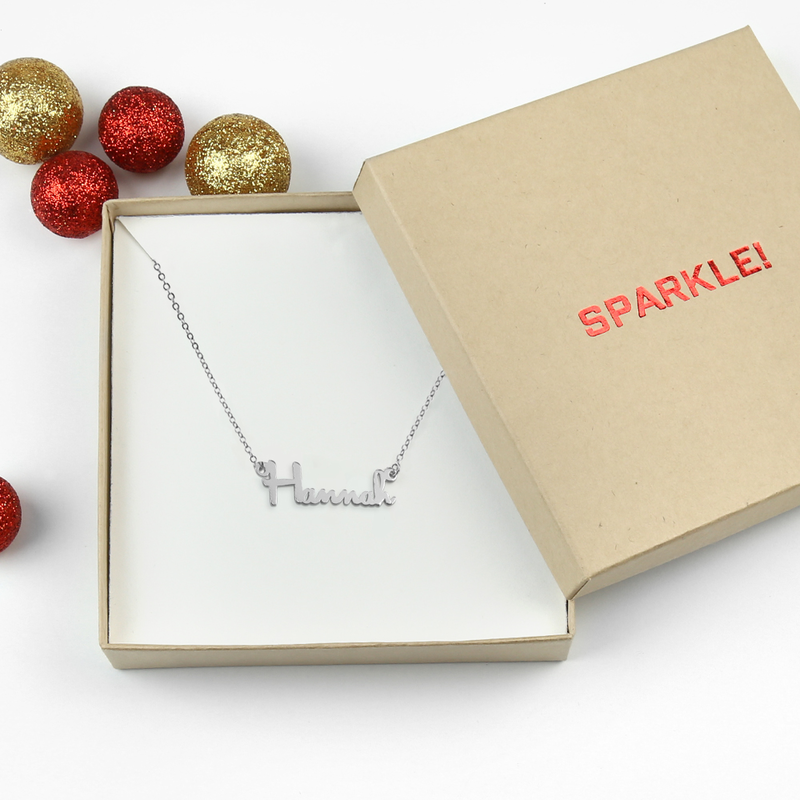 Custom Jewelry - Silver Name Necklace Sparkle - Gift Ready