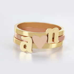 Yellow or Rose Gold over Silver Stackable Initial Ring