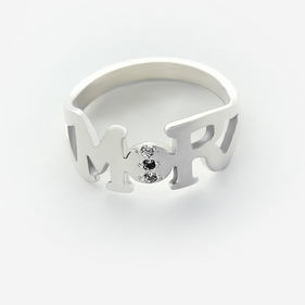 Sterling Silver 3 Diamond Stone Personalized w/ Two Initials Ring