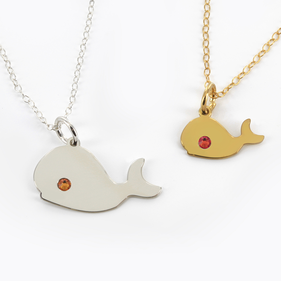 Sterling Silver Whale  Necklace Personalized with Swarovski Birthstone