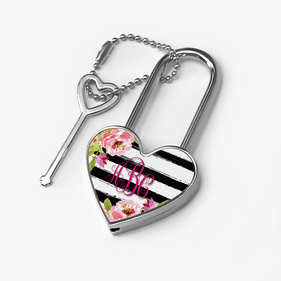 Striped Floral Custom Heart Shaped Metal Lock