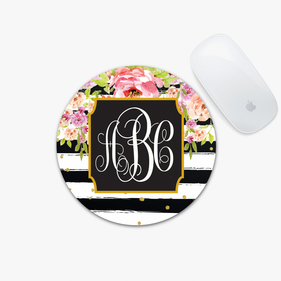 Striped Floral Custom Soft Round Mouse Pad