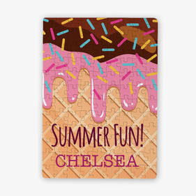 Summer Fun Personalized Ice Cream Cone Kids Puzzle / 80 Pieces