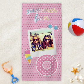Summer Fun Photo Personalized Kids Beach Towel