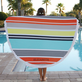 Summer Inspired Custom Round Terry Beach Towel