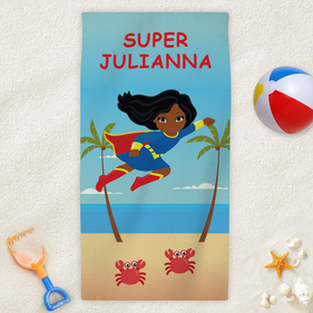 Supergirl Personalized Character Beach Towel